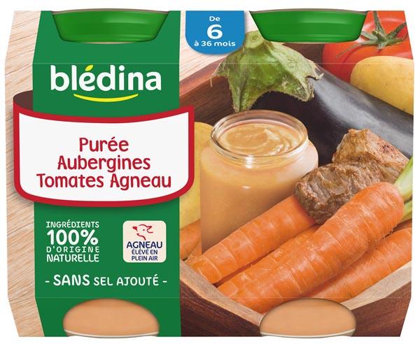 Petit pot purée aubergines, tomates, agneau - dès 6 mois, Blédina (2 x 200 g)