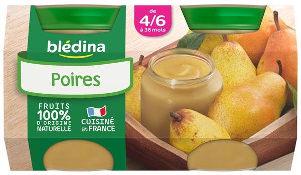 Petit pot poires - dès 4/6 mois, Blédina (2 x 130 g)