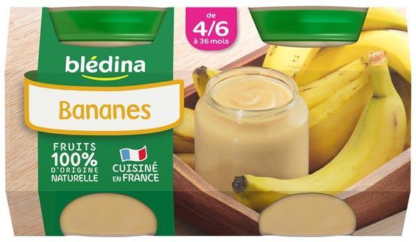 Petit pot bananes - 4/6 mois, Blédina (2 x 130 g)