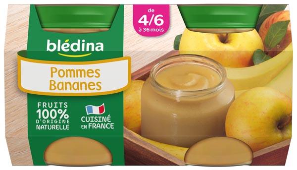 Petit pot pommes bananes - 4/6 mois, Blédina (4 x 130 g)