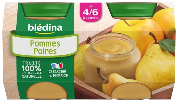 Petit pot pommes, poires - dès 4/6 mois, Blédina (4 x 130 g)