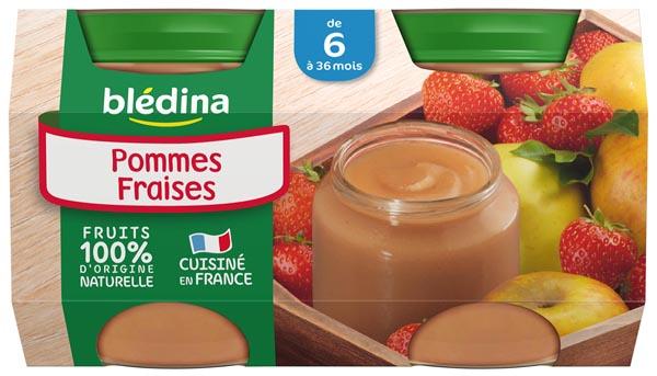 Petit pot pommes fraises - 4/6 mois, Blédina (4 x 130 g)