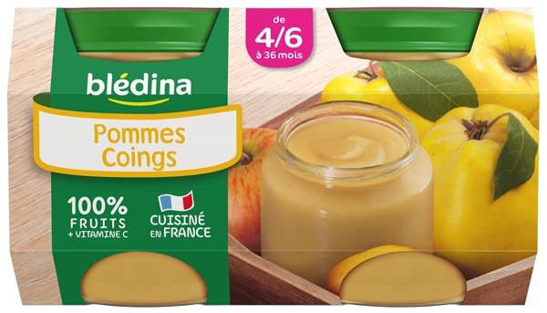 Petit pot pommes, coings - dès 4/6 mois, Blédina (4 x 130 g)