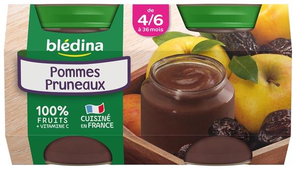 Petit pot pommes pruneaux - 4/6 mois, Blédina (4 x 130 g)