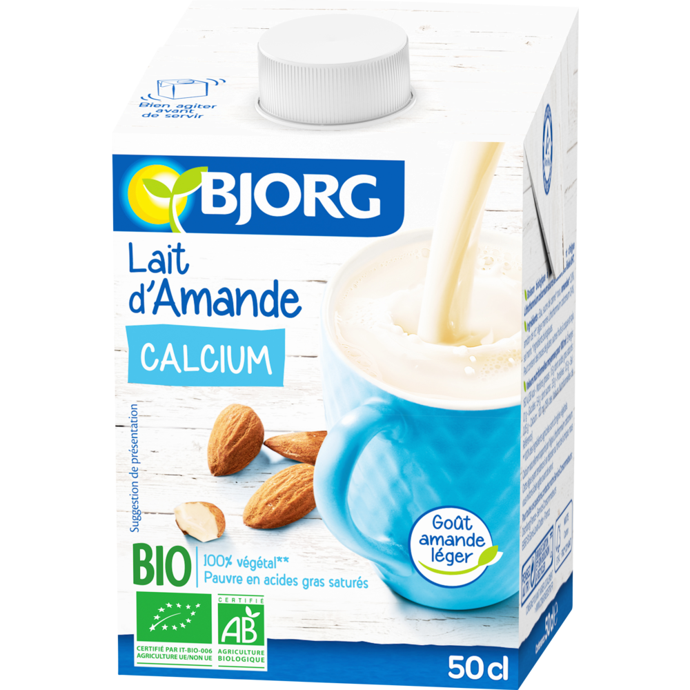 Boisson au lait d'amande calcium BIO, Bjorg (50 cl)