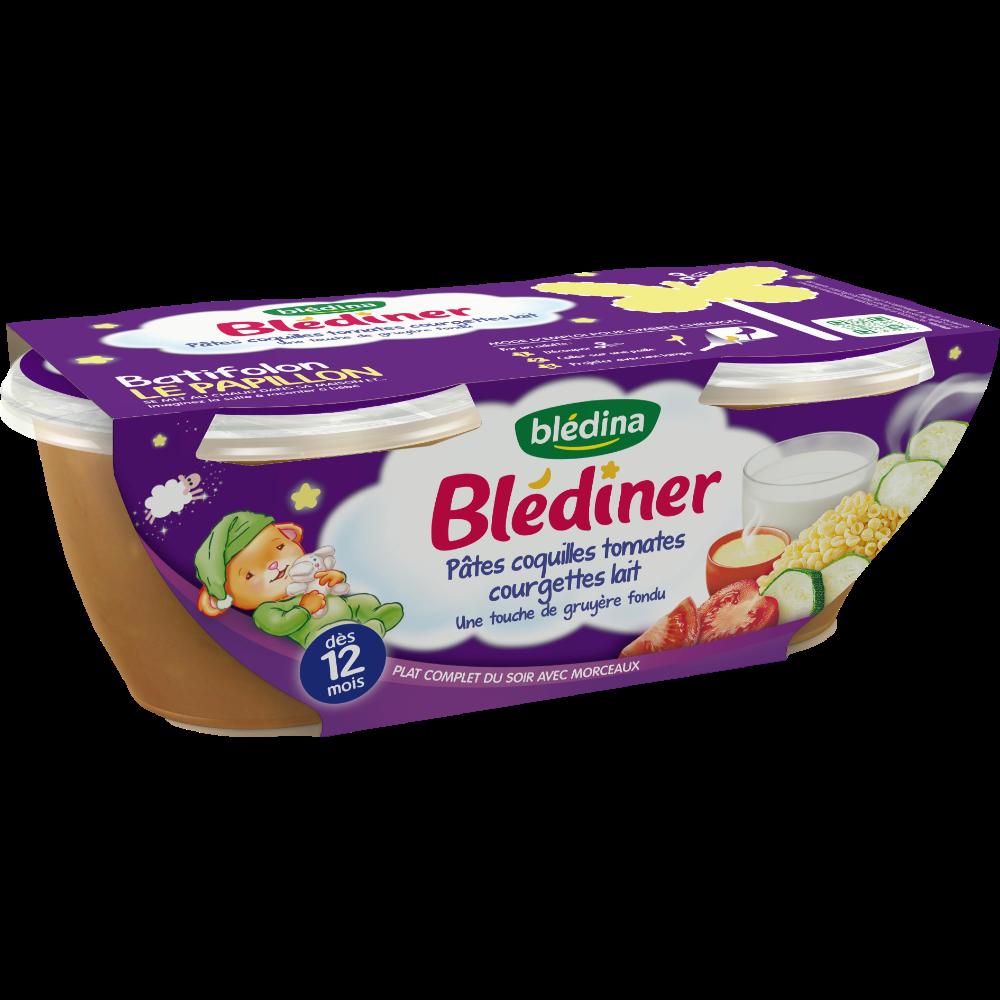 Blédiner bols coquillettes, légumes et lait - dès 12 mois, Blédina (2 x 200 g)