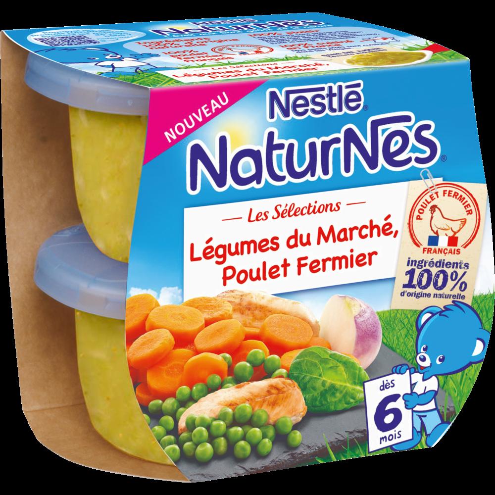 Les sélections légumes du marché, poulet fermier - dès 6 mois, Naturnes Nestlé (2 x 200 g)