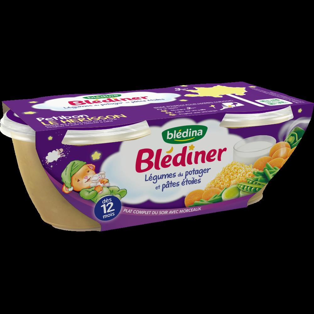 Blédiner bols légumes du potager et pâtes étoiles - dès 12 mois, Blédina (2 x 200 g)