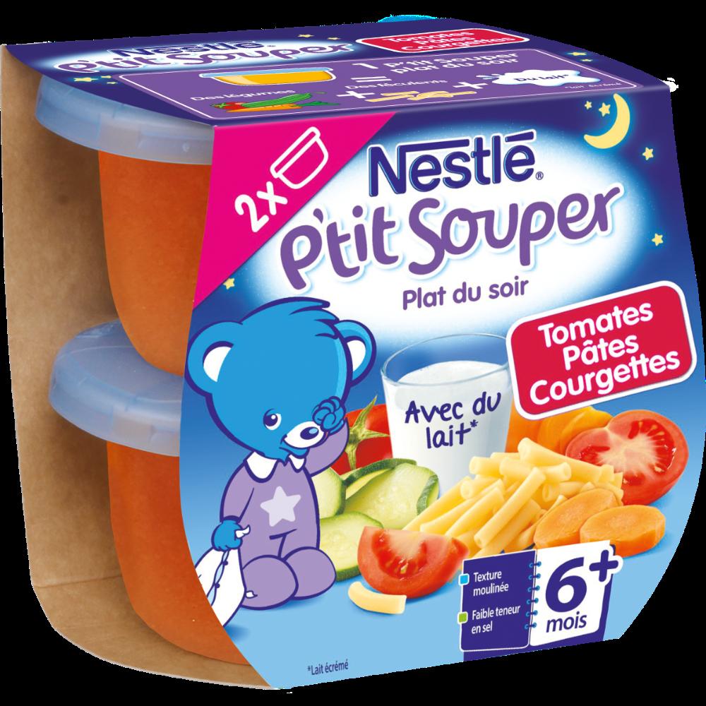 P'tit Souper bols pour bébé tomate, pâte et courgette - dès 6 mois, Nestlé (2 x 200 g)