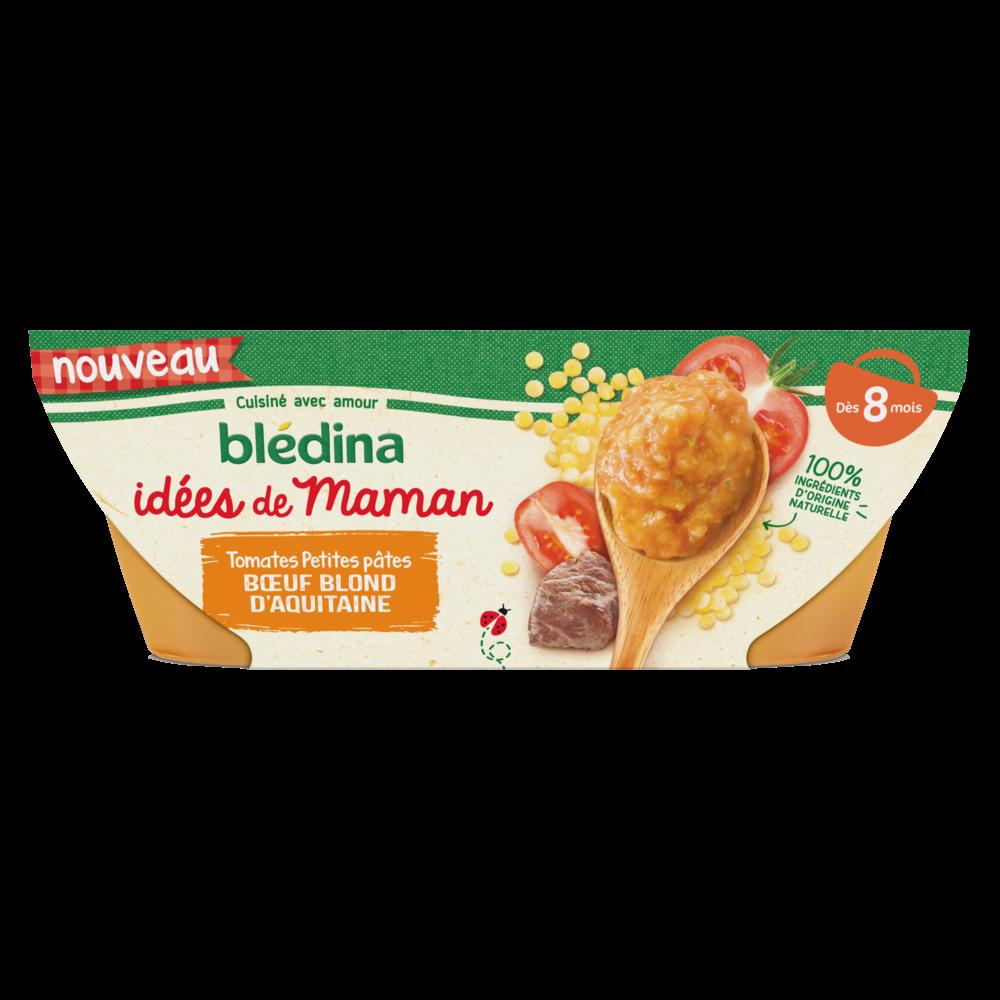 Bols tomates, petites pâtes et boeuf blond d'Aquitaine Idées de Maman - dès 8 mois, Blédina (2 x 200 g)