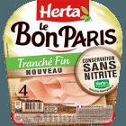 Jambon de Paris tranché fin, sans nitrite, Herta (4 tranches, 120 g)