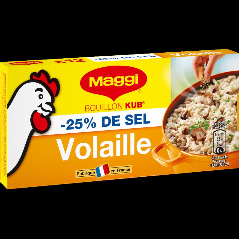 Bouillon de volaille réduit en sel, Maggi (12 tablettes, 120 g)