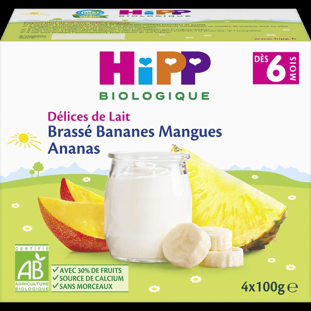 Délices de lait brassé bananes, mangues, ananas BIO - dès 6 mois, Hipp (4 x 100 g)