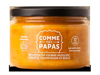 Brunoise de courge musquée, carotte, champignon et bœuf BIO - 15 mois, Comme des papas (230 g)