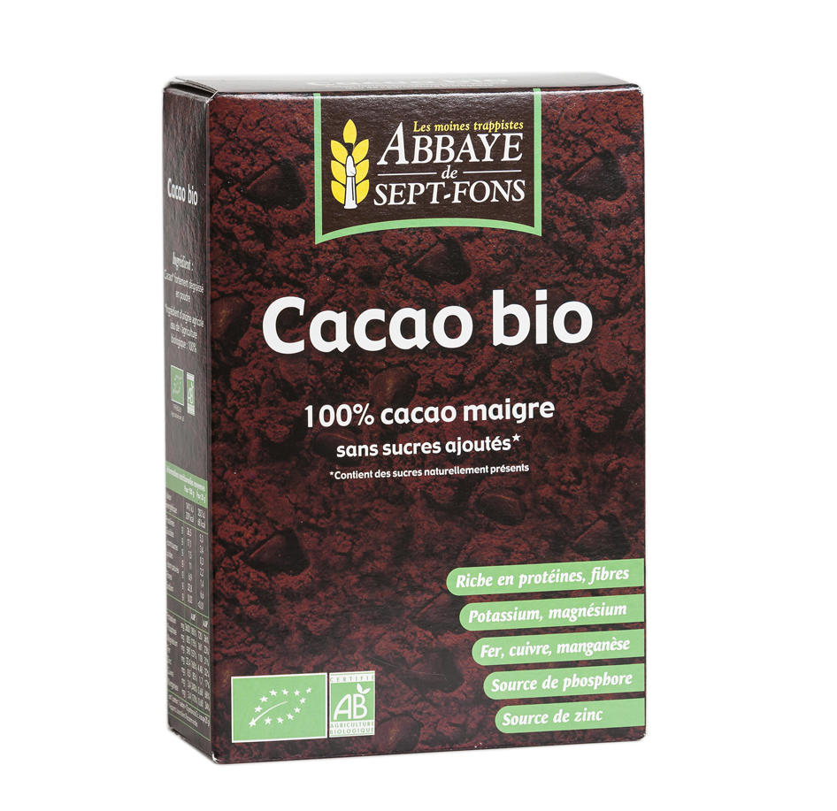 Cacao en poudre BIO, Les moines trappistes Abbaye de Sept-Fons (200 g)