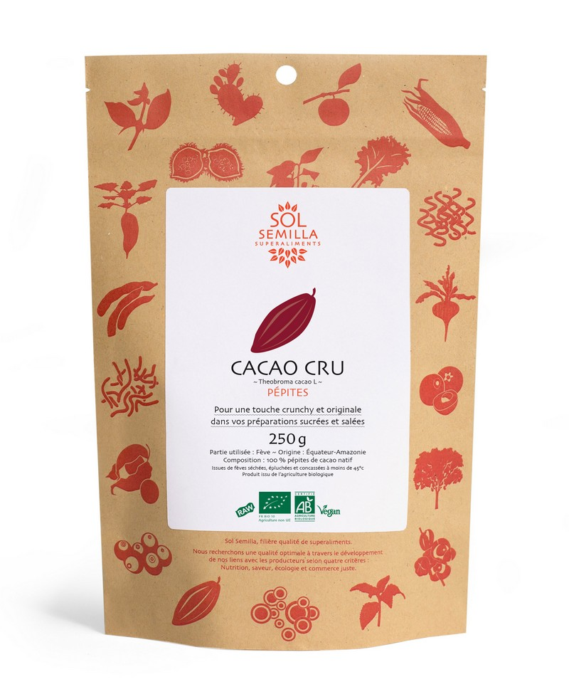 Cacao cru en pépites, Sol Semila (250 g)