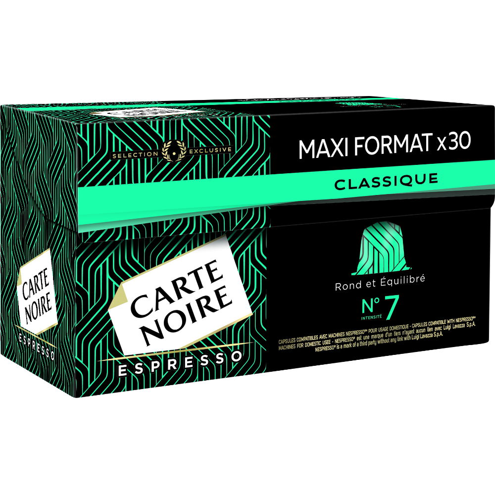 Café capsules n°7 espresso classique, Carte Noire (x 30)