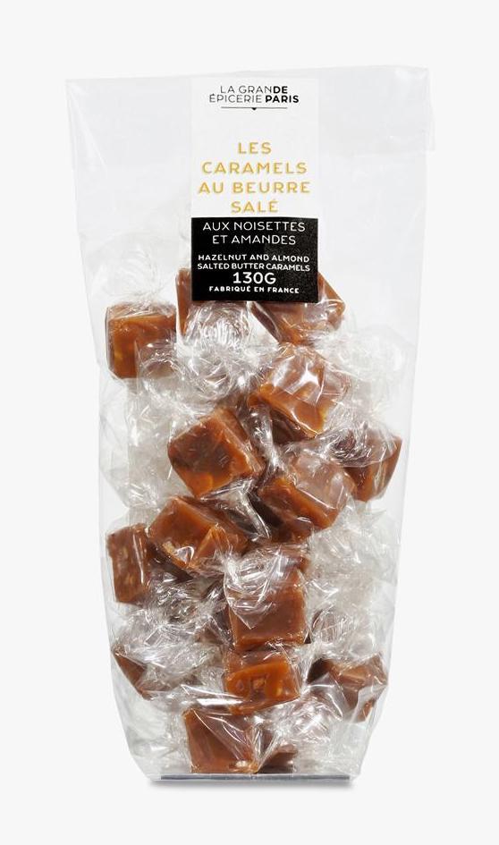 Caramels au beurre demi-sel aux noisettes et aux amandes, La Grande Epicerie de Paris (130 g)