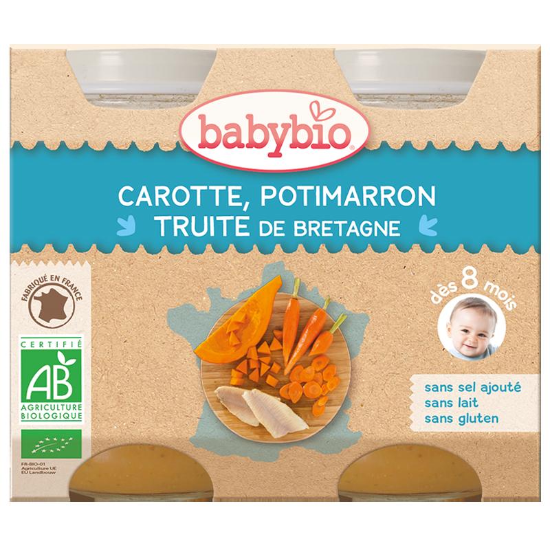 Petit pot carotte, potimarron, truite de Bretagne BIO - dès 8 mois, Babybio (2 x 230 g)