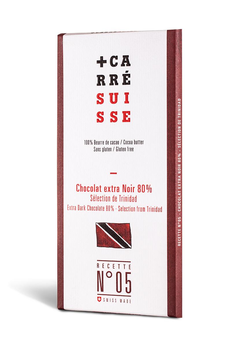 Chocolat extra noir de Trinidad 80% - Recette n°05, Carré Suisse (100 g)