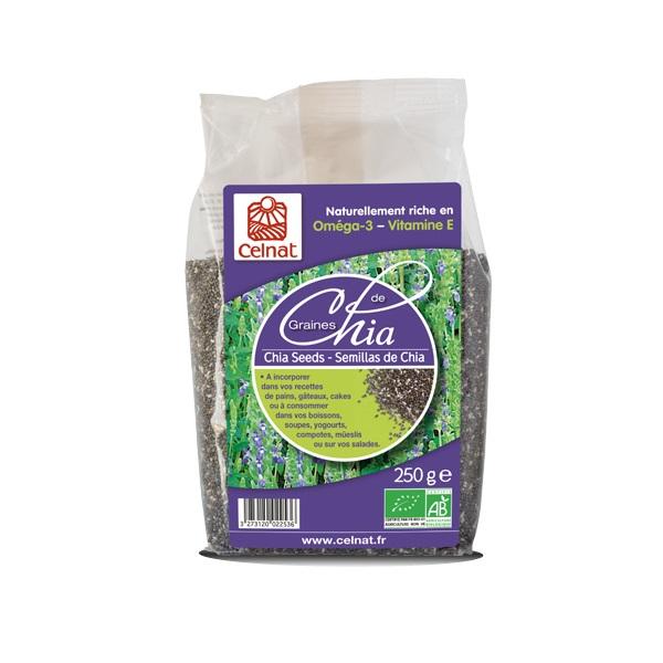 Graines de chia complètes BIO, Celnat (250 g)
