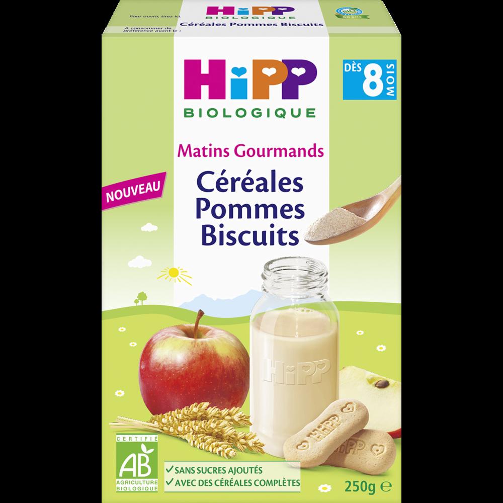 Matins gourmands céréales pommes biscuits BIO - dès 8 mois, Hipp (250 g)