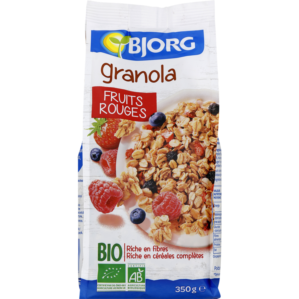 Céréales granola aux fruits rouges BIO, Bjorg (350 g)