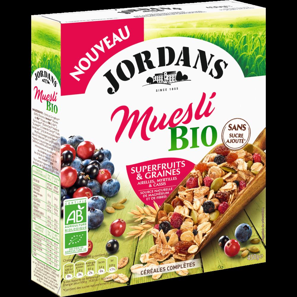 Muesli superfruits & graines complètes BIO, Jordan's (450 g)