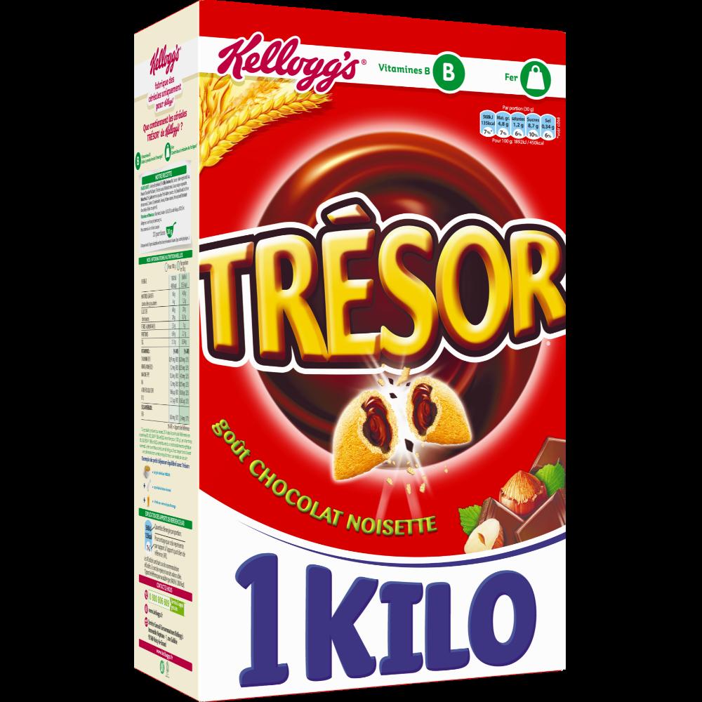 Céréales Trésor fourrées chocolat noisette, Kellog's (1 kg)