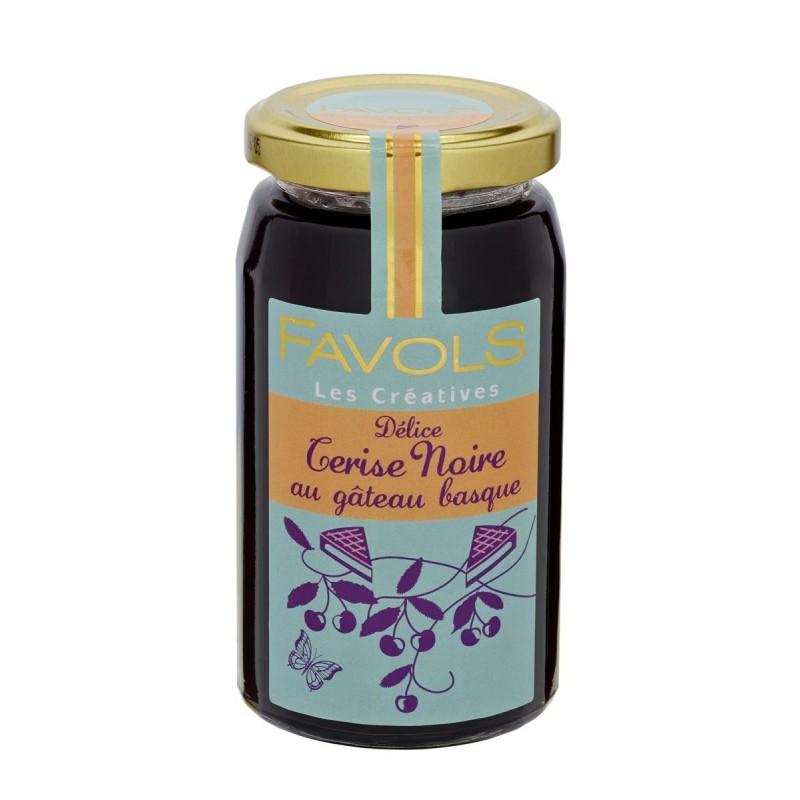Confiture de cerise noire et gâteau basque, Favols (260 g)