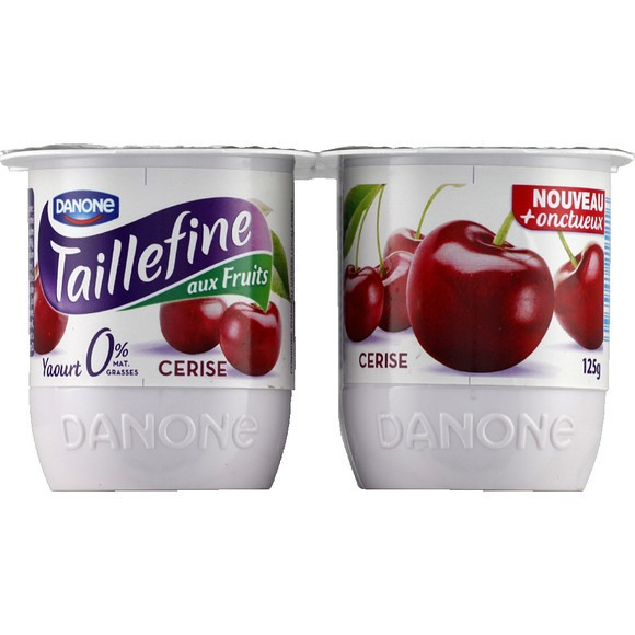 Yaourt Taillefine 0% Cerises, Danone (4 x 125 g)