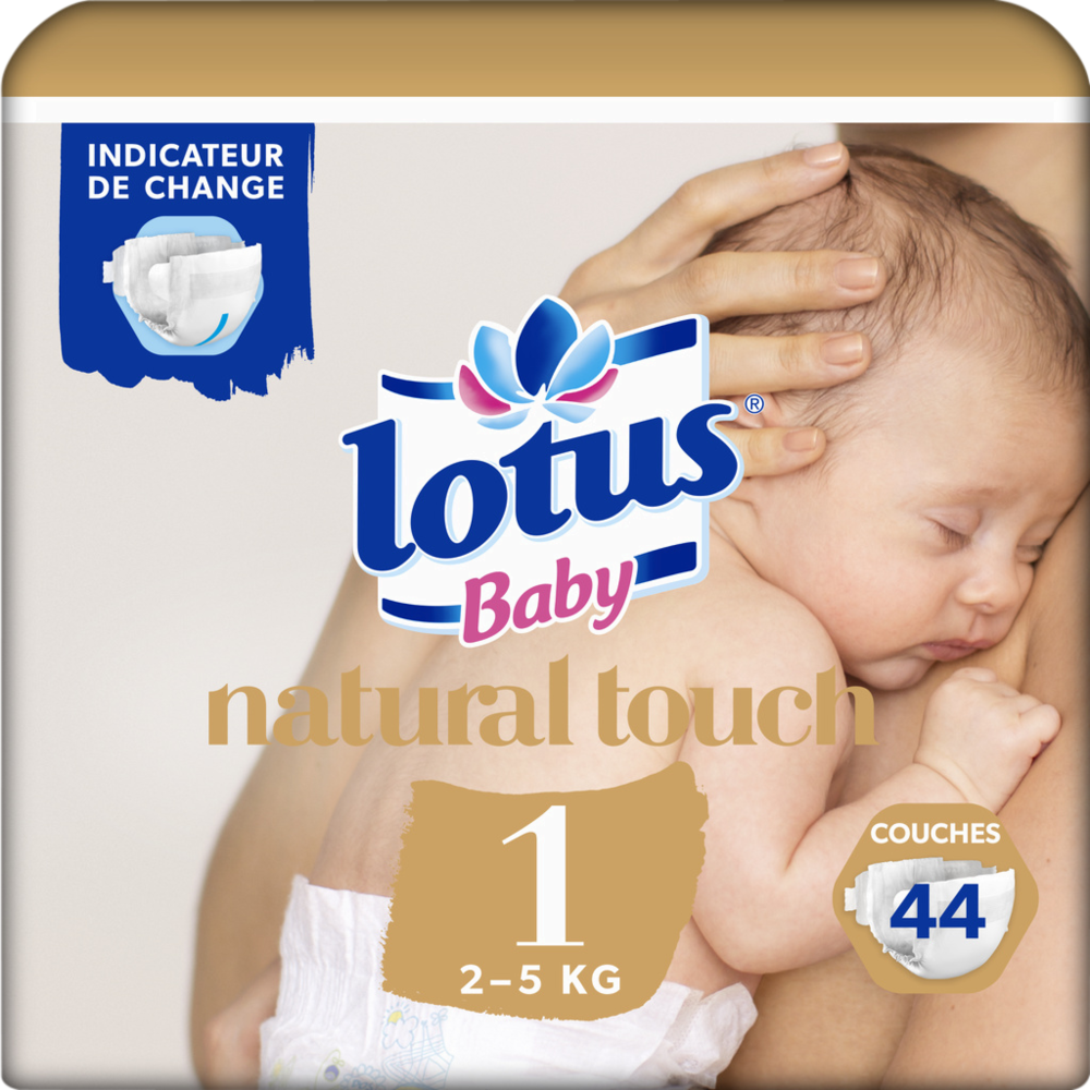 Couches natural touch T1 / 2-5 kg, Lotus Baby (x 44)