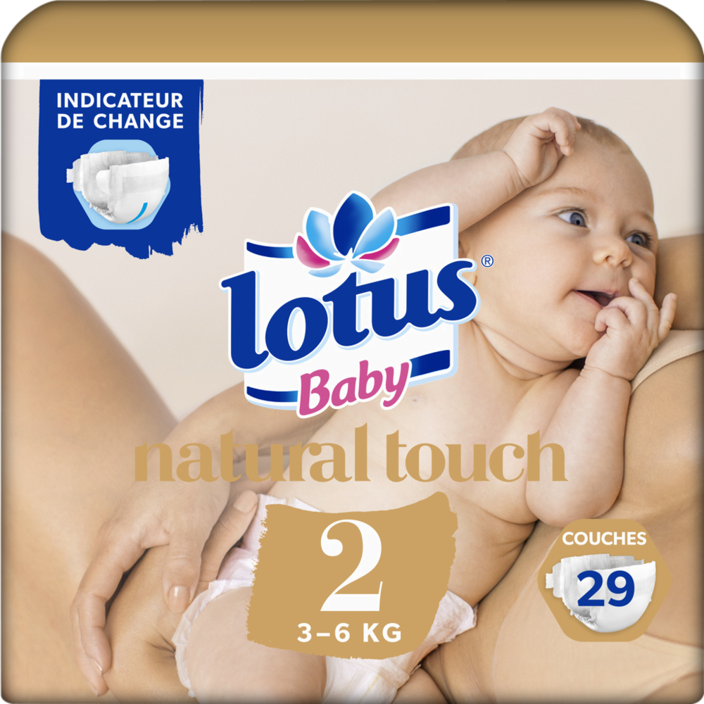 Couches natural touch T2 / 3-6 kg, Lotus baby (x 29)