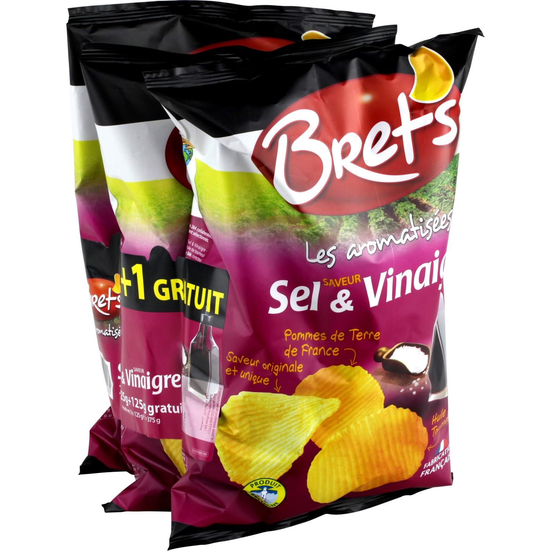 Chips ondulées au vinaigre, Bret's OFFRE SPECIALE LOT DE 2 +1 OFFERT (3 x 125 g)