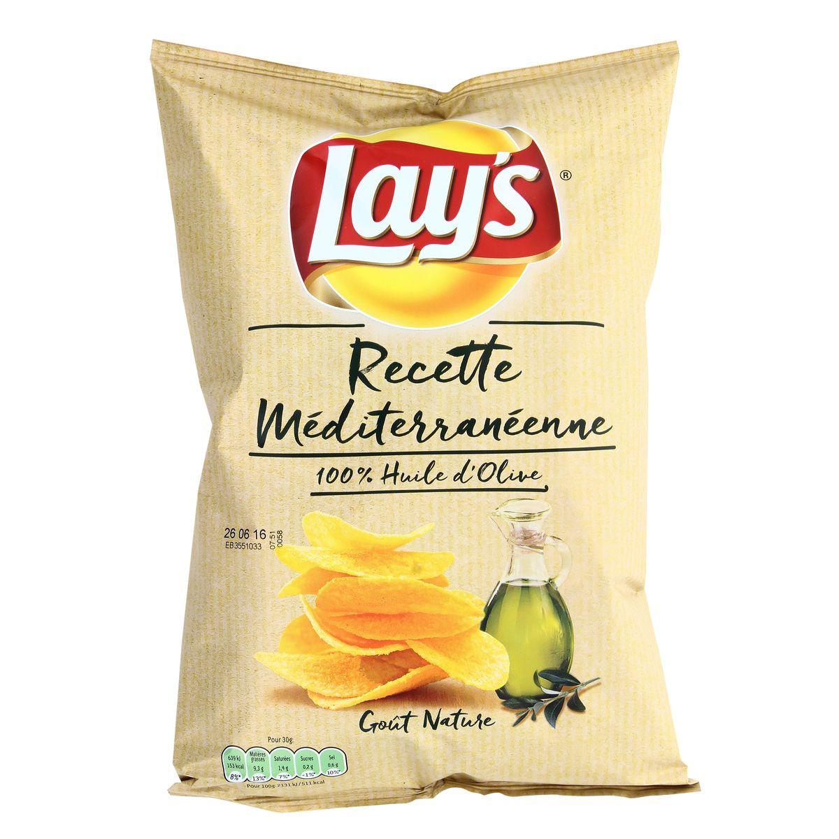 Pack de 6 - Chips recette méditerranéenne nature, Lay's (6 x 130 g)