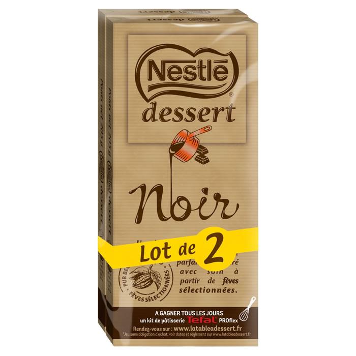 Chocolat noir 52% à pâtisser, Nestlé dessert LOT DE 2 (2 tablettes x 205 g)