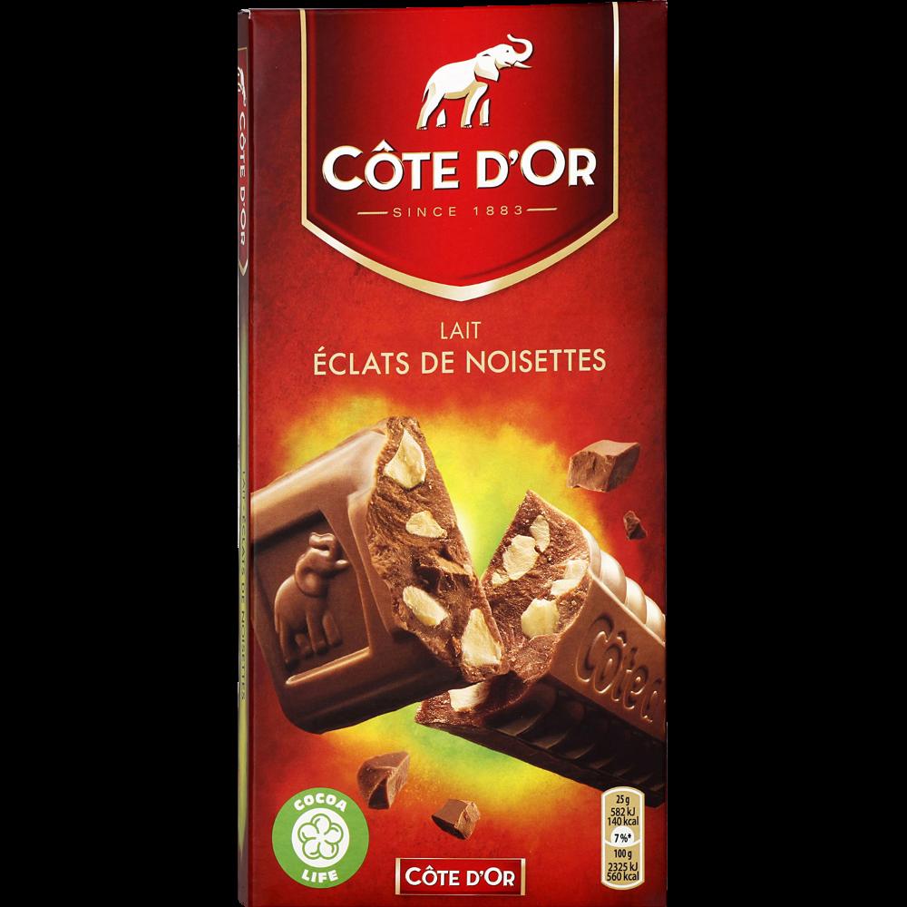 Chocolat au lait aux éclats de noisettes, Côte d'Or (200 g)