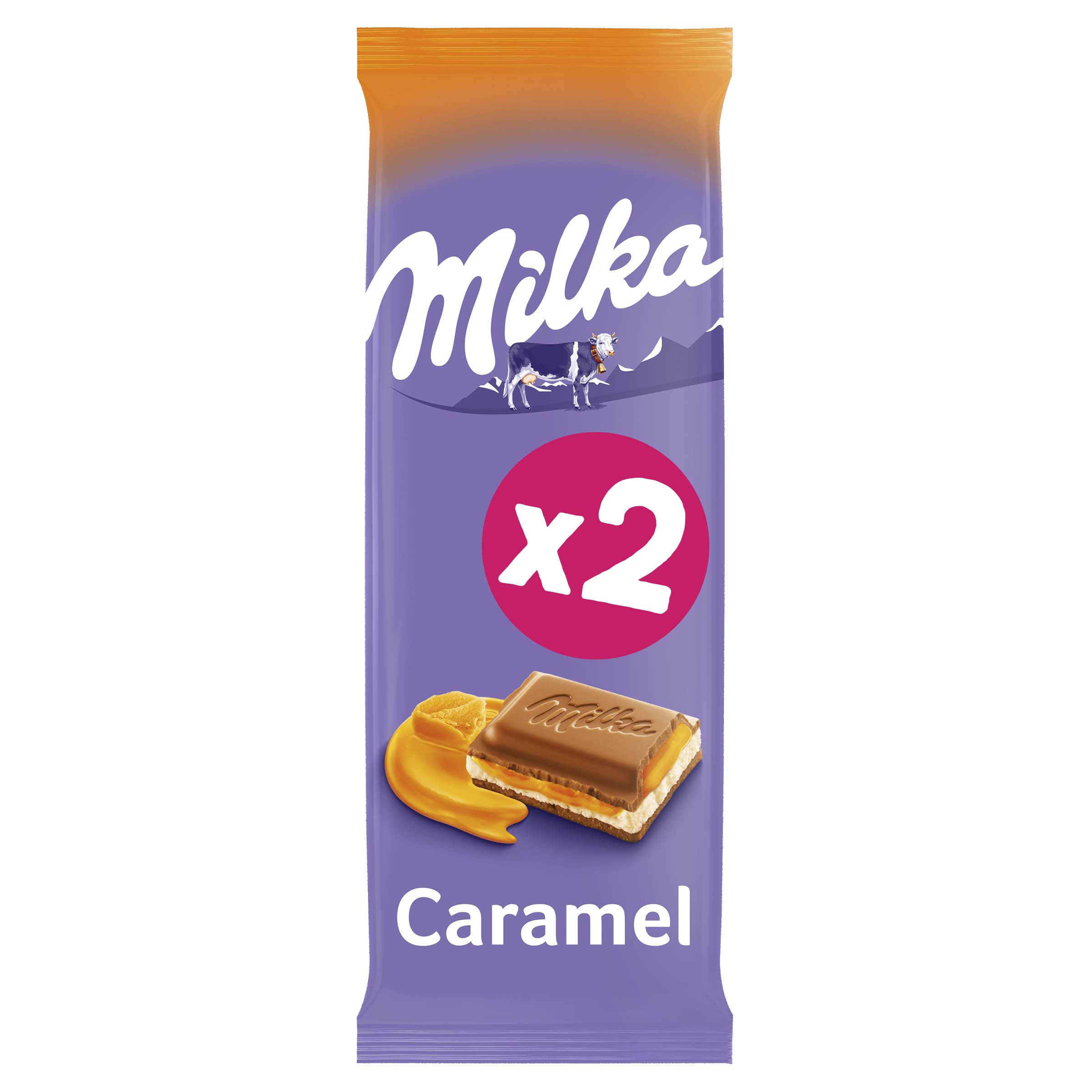 Chocolat au lait caramel fondant, Milka (2 x 100 g)