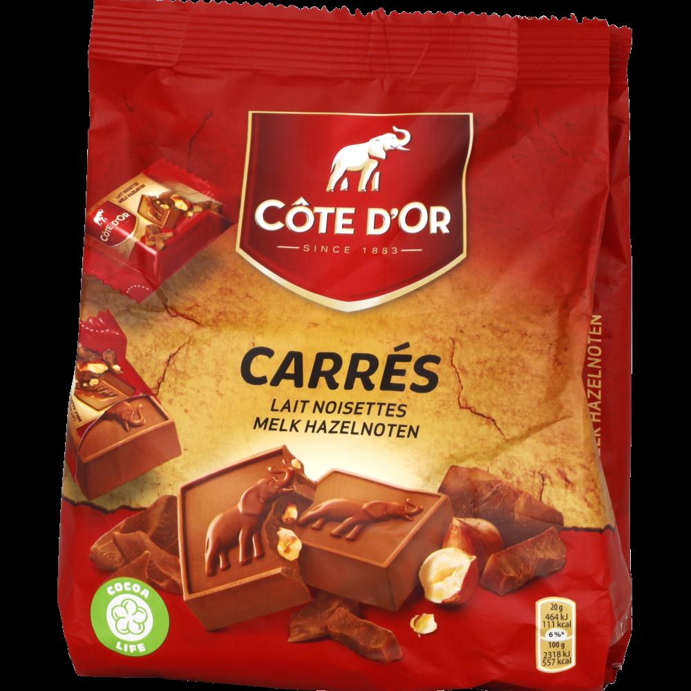 Carrés au chocolat au lait et aux noisettes, Côte d'Or (x 10)