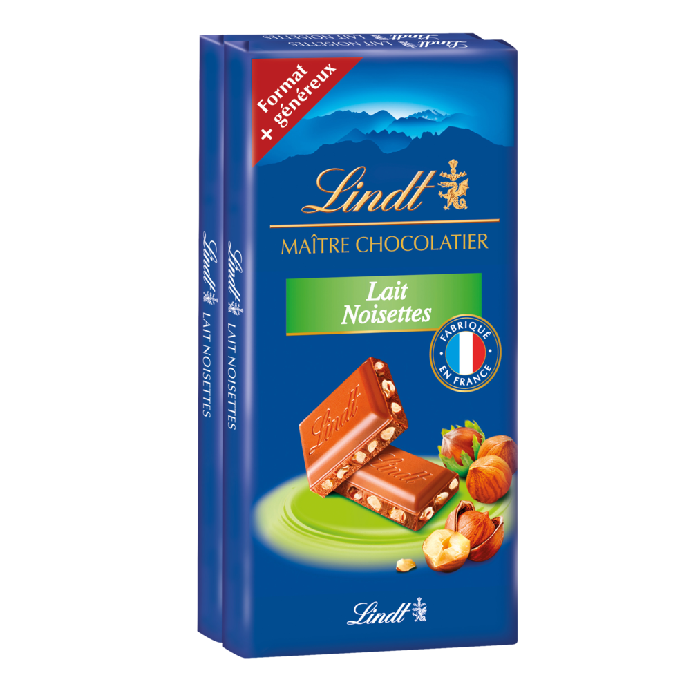 Chocolat au lait extra fin et aux noisettes, Lindt (2 x 110 g)