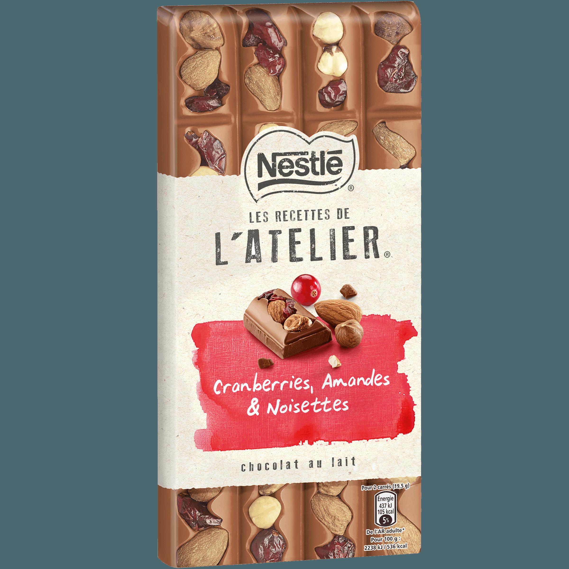 Chocolat au lait L' Atelier aux cranberry, amandes et noisettes, Nestlé (170 g)