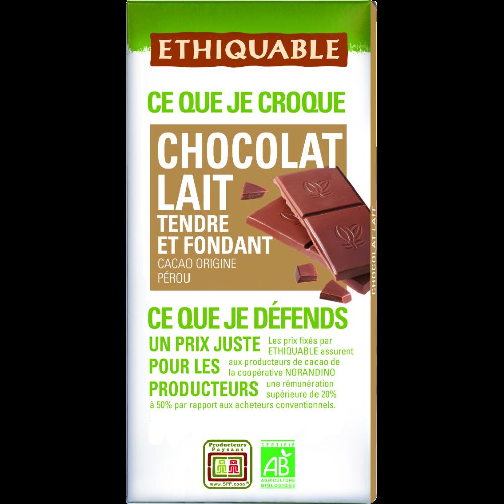 Chocolat au lait nature tendre et fondant BIO, Ethiquable (100 g)