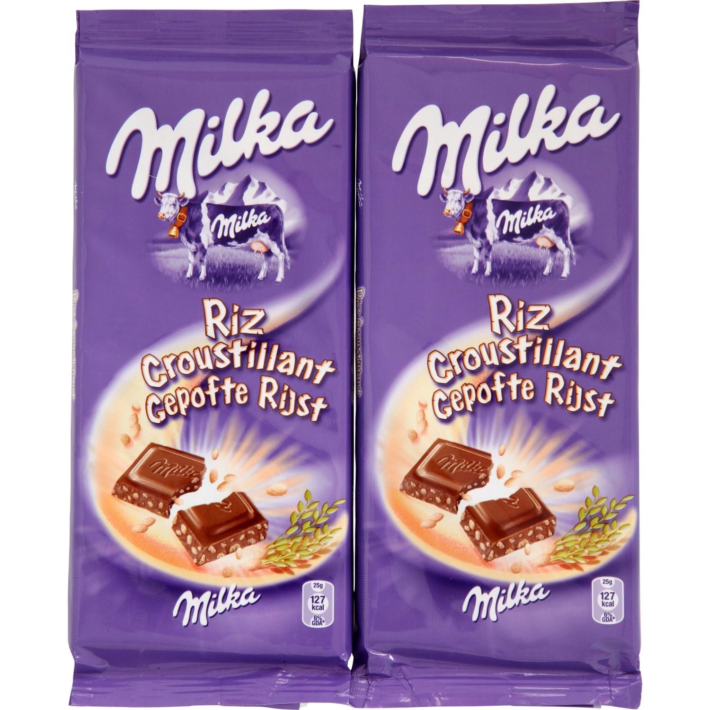 Chocolat au lait et riz croustillant Milka (2 x 100 g)
