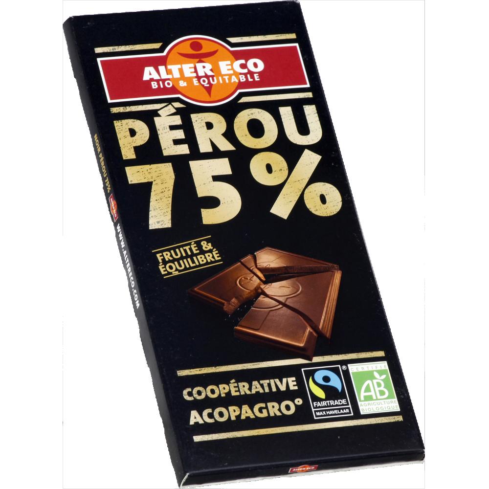 Chocolat noir 75% BIO, Alter Eco (100 g)