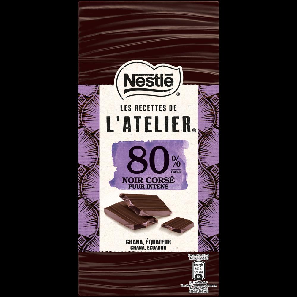 Chocolat noir corsé 80% les recettes de l'atelier, Nestlé (100 g)