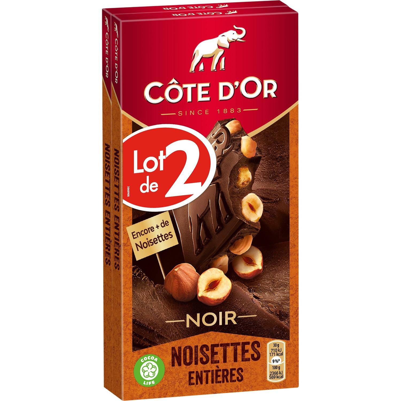 Chocolat noir noisettes entières LOT DE 2, Côte d'Or (2 x 180 g)