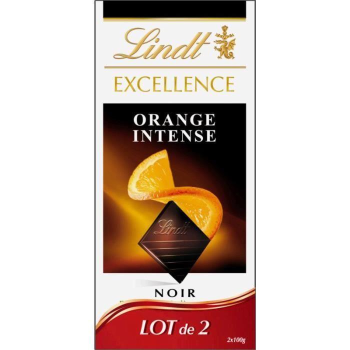 Chocolat noir orange intense, Lindt LOT DE 2 (2 x 100 g)