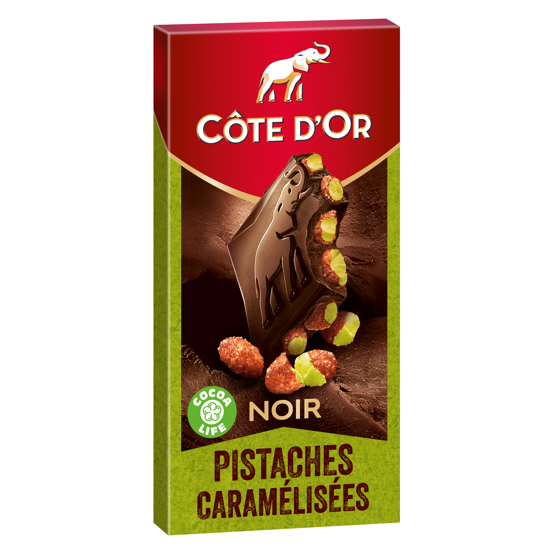 Chocolat noir pistache caramélisées, Côte d'Or (180 g)