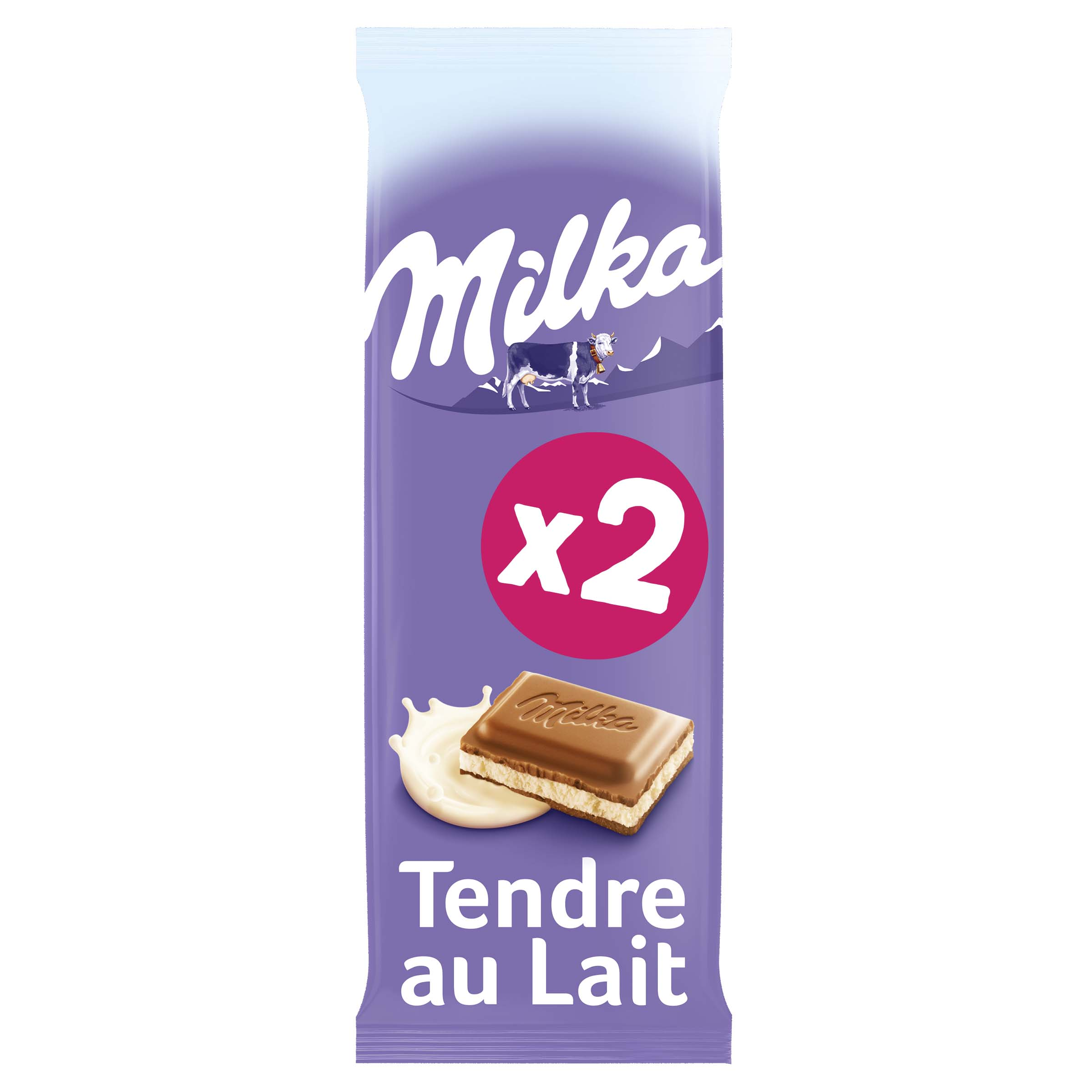 Chocolat tendre au lait, Milka LOT DE 2 (2 x 100 g)