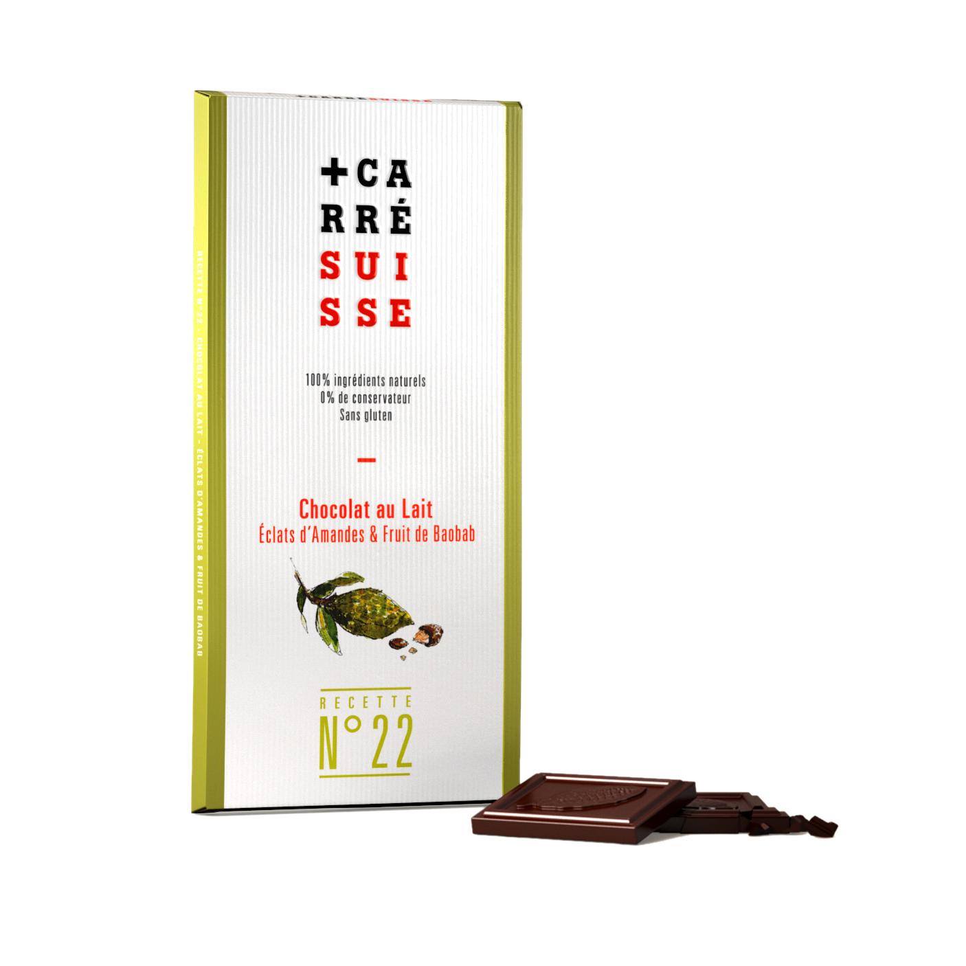 Chocolat au lait et éclats d'amandes & fruit de Baobab, Carré Suisse (100 g)